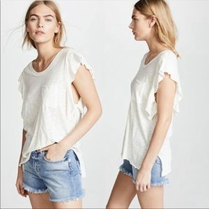 Free People NWT So Easy Short Ruffle Tee